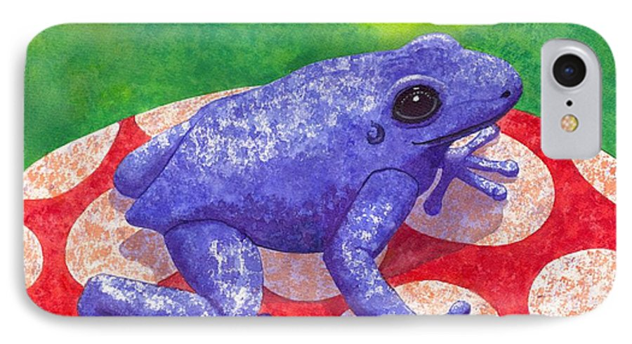 Frog IPhone 7 Case featuring the painting Blue Frog by Catherine G McElroy