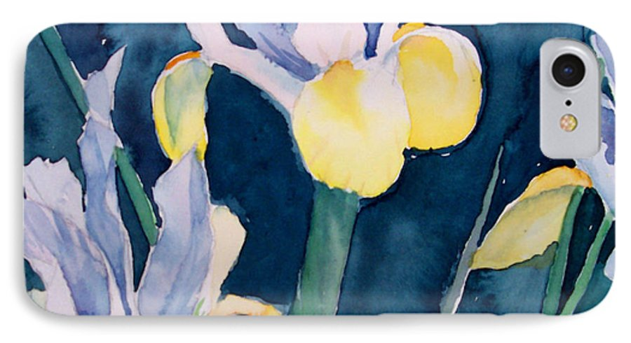 Flowers IPhone 7 Case featuring the painting Blue Iris by Philip Fleischer