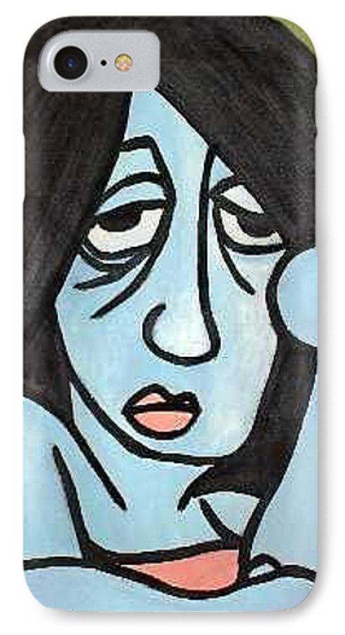 Portrait IPhone 7 Case featuring the painting Blue by Thomas Valentine