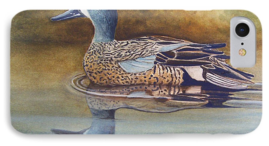 Rick Huotari IPhone 7 Case featuring the painting Blue Winged Teal by Rick Huotari