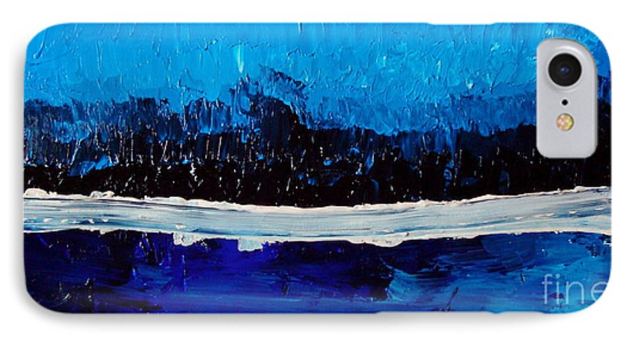 Blue IPhone 7 Case featuring the painting Blues by Holly Picano