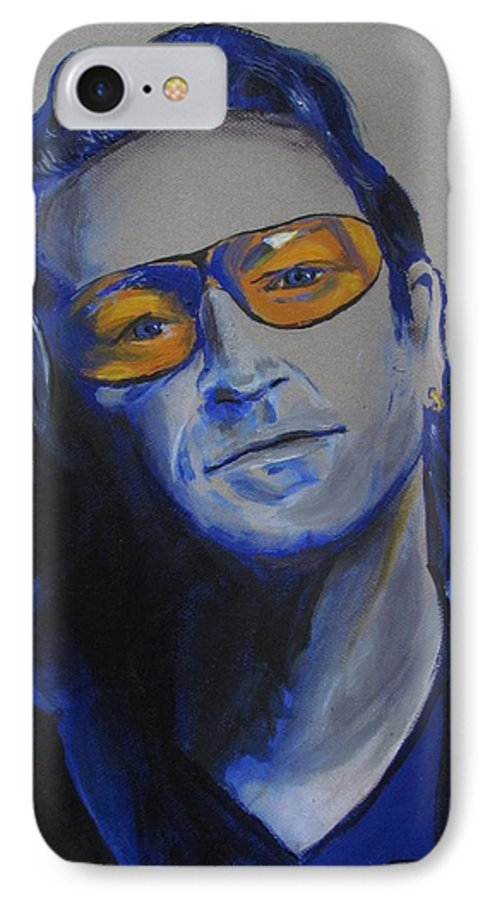 Celebrity Portraits IPhone 7 Case featuring the painting Bono U2 by Eric Dee