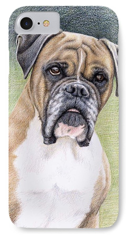 Dog IPhone 7 Case featuring the drawing Boxer Portrait by Nicole Zeug