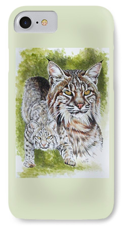 Small Cat IPhone 7 Case featuring the mixed media Brassy by Barbara Keith