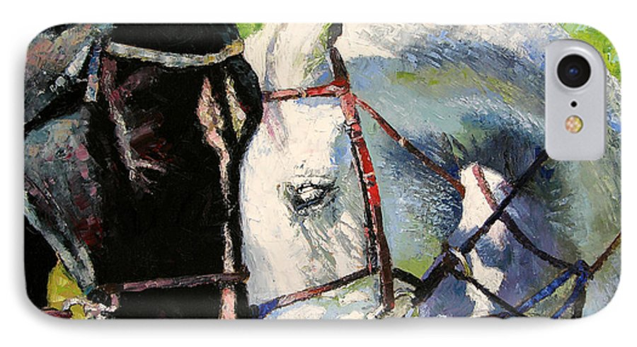 Horses IPhone 7 Case featuring the painting Bridled Love by John Lautermilch