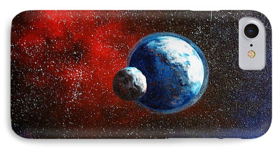 Astro IPhone 7 Case featuring the painting Broken Moon by Murphy Elliott