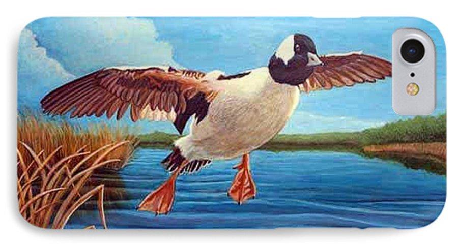 Rick Huotari IPhone 7 Case featuring the painting Buffelhead Duck by Rick Huotari