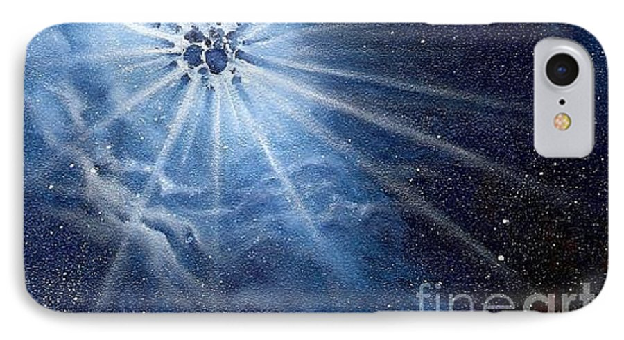 Outerspace IPhone 7 Case featuring the painting Burst Of Light by Murphy Elliott