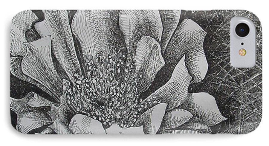Flowers IPhone 7 Case featuring the drawing Cactus Flower by Denis Gloudeman