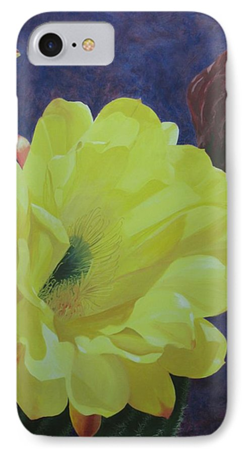 Argentine Cactus Bloom IPhone 7 Case featuring the painting Cactus Morning by Janis Mock-Jones