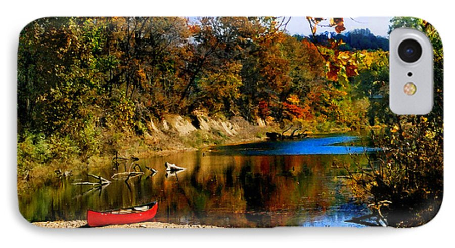 Autumn IPhone 7 Case featuring the photograph Canoe On The Gasconade River by Steve Karol
