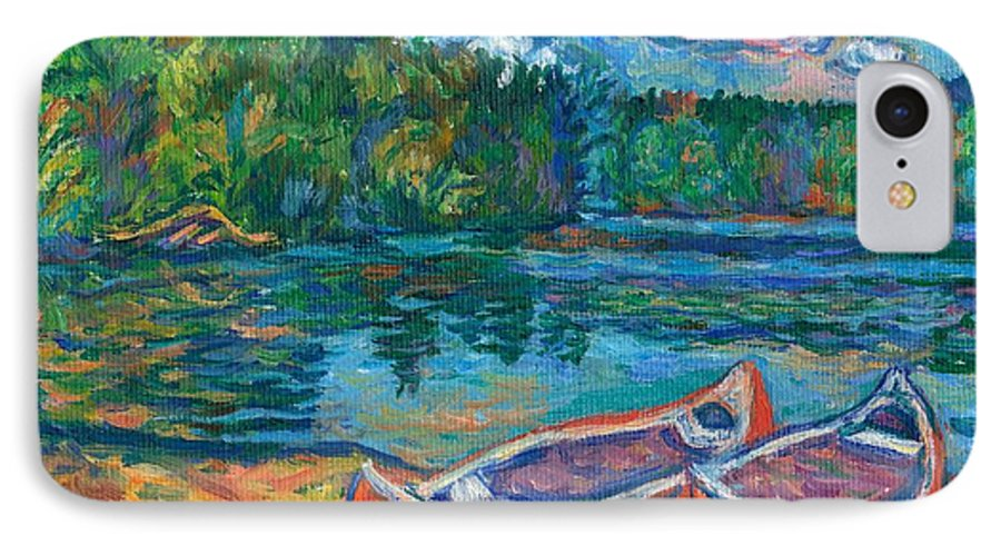 Landscape IPhone 7 Case featuring the painting Canoes At Mountain Lake Sketch by Kendall Kessler