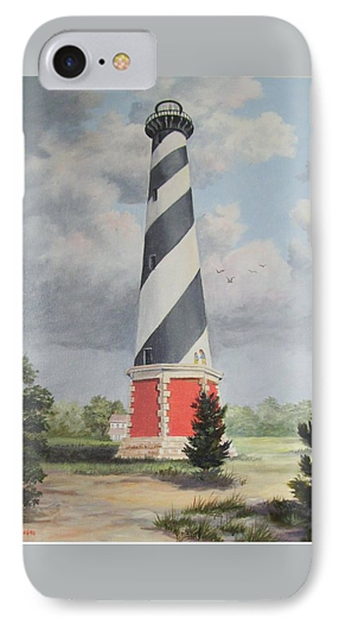 Sunrise Clouds IPhone 7 Case featuring the painting Cape Hatteris Sunrise by Wanda Dansereau
