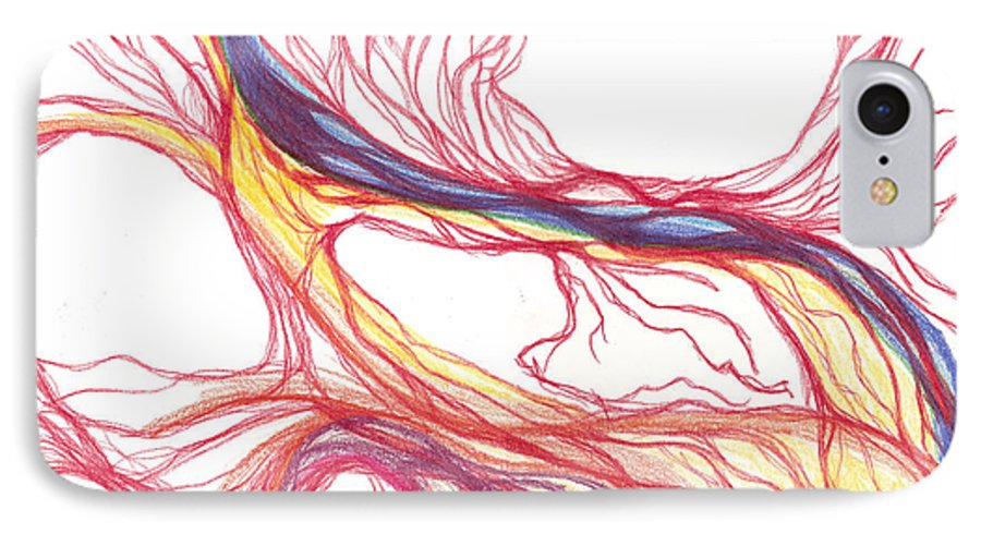 Capillaries IPhone 7 Case featuring the drawing Capillaries by Lindsay Clark