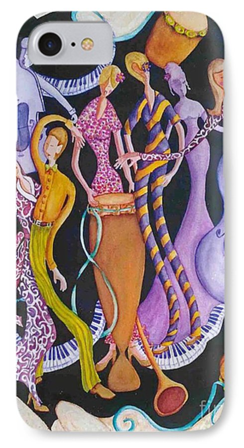 Dancers IPhone 7 Case featuring the painting Caribbean Calypso by Arleen Barton