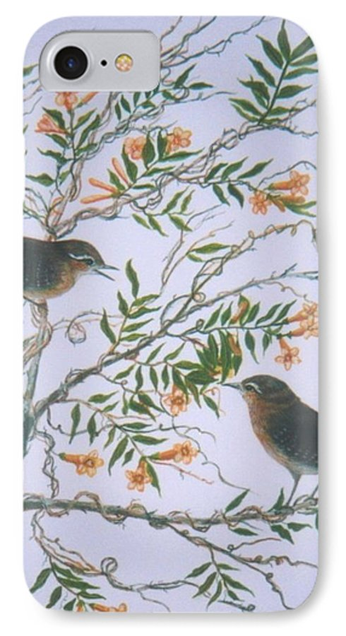 Bird; Flowers IPhone 7 Case featuring the painting Carolina Wren And Jasmine by Ben Kiger