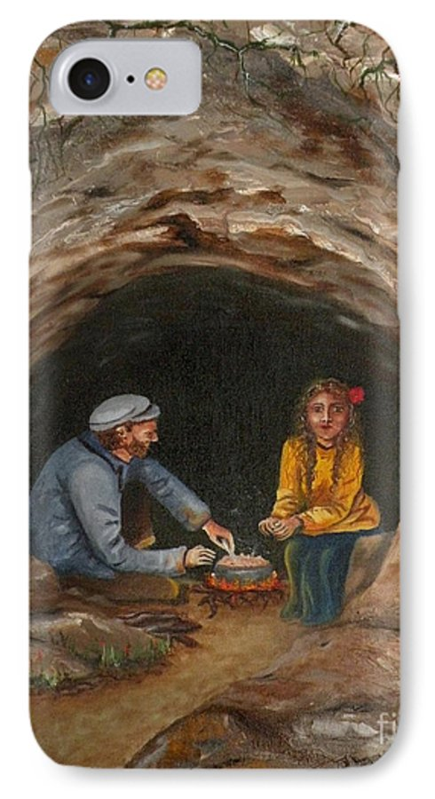 Travelers IPhone Case featuring the painting Cave Dwellers by Lora Duguay