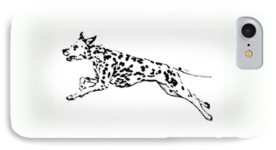 Dogs IPhone 7 Case featuring the drawing Celebrate by Jacki McGovern