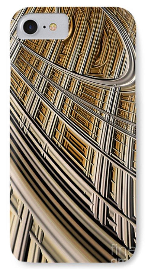 Geometric Harp IPhone 7 Case featuring the digital art Celestial Harp by John Edwards