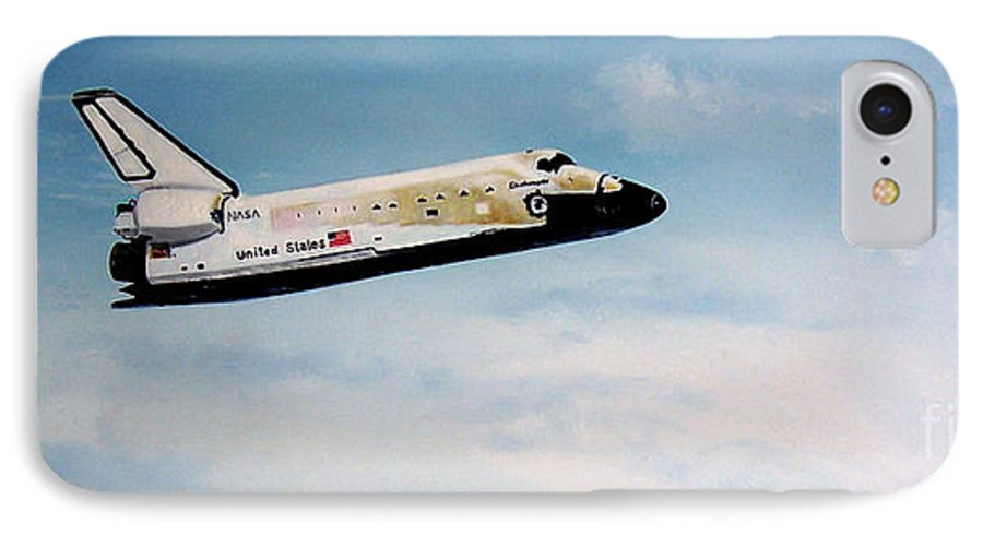 Shuttle IPhone 7 Case featuring the painting Challenger by Murphy Elliott