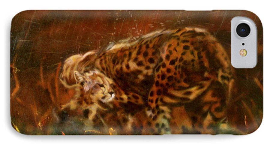 Rain;water;cats;africa;wildlife;animals;mother;shelter;brush;bush IPhone 7 Case featuring the painting Cheetah Family After The Rains by Sean Connolly