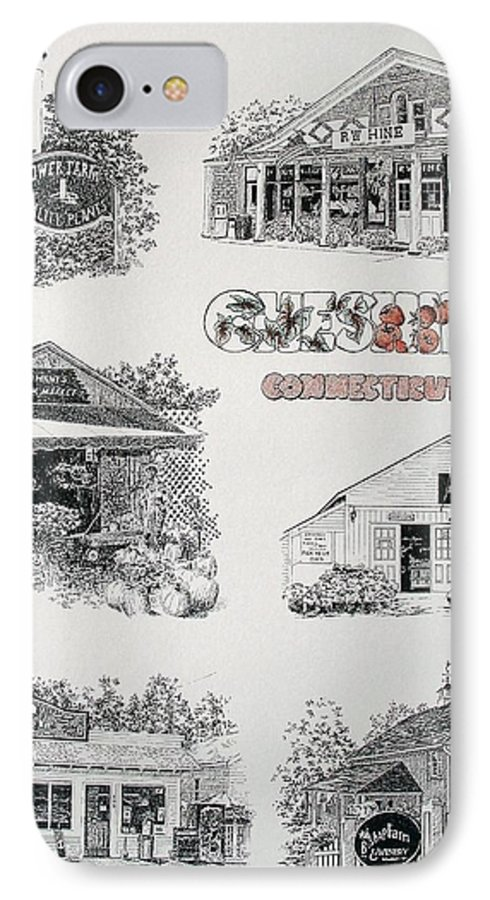 Connecticut Chechire Ct Architecture Buildings New England IPhone 7 Case featuring the painting Cheshire Landmarks by Tony Ruggiero