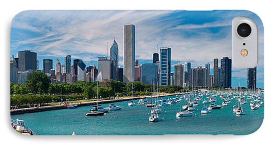 3scape IPhone 7 Case featuring the photograph Chicago Skyline Daytime Panoramic by Adam Romanowicz