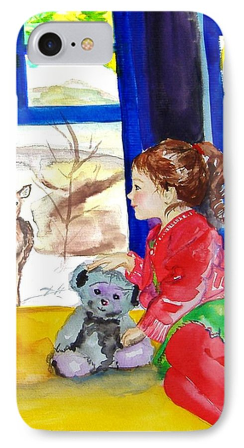Christmas IPhone 7 Case featuring the painting Childhood by Laura Rispoli