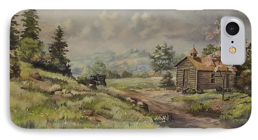 Landscape IPhone 7 Case featuring the painting Church In The Ozarks by Wanda Dansereau
