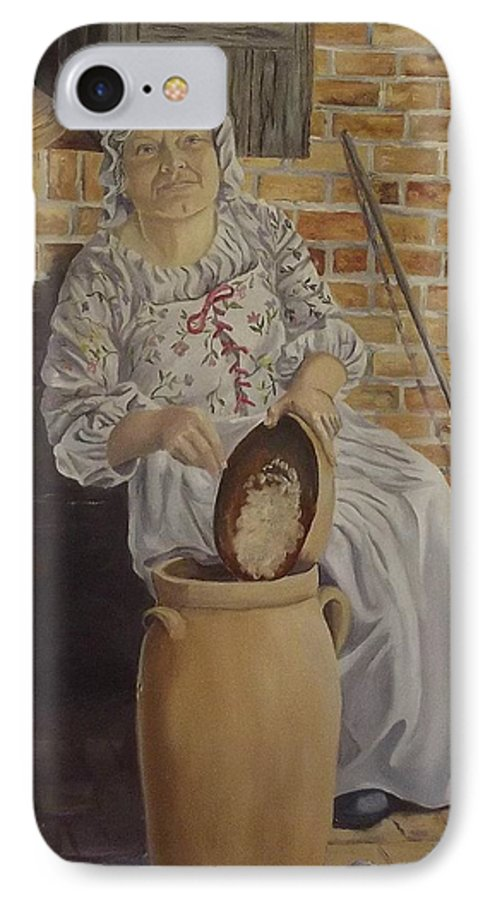 Historic IPhone 7 Case featuring the painting Churning Butter by Wanda Dansereau