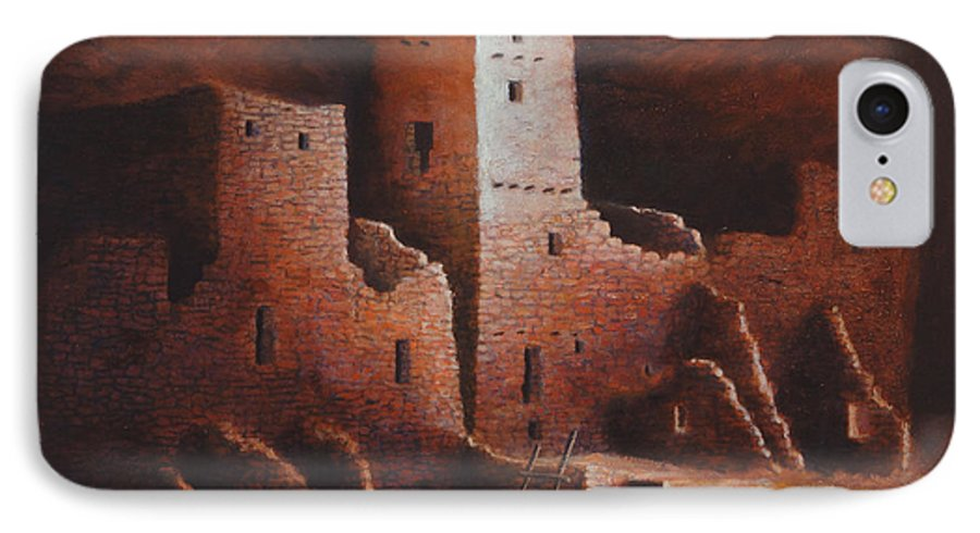 Anasazi IPhone 7 Case featuring the painting Cliff Palace by Jerry McElroy