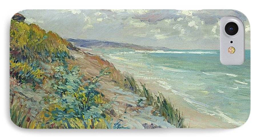 Beach IPhone 7 Case featuring the painting Cliffs By The Sea At Trouville by Gustave Caillebotte
