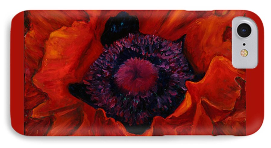 Red Poppy IPhone 7 Case featuring the painting Close Up Poppy by Billie Colson