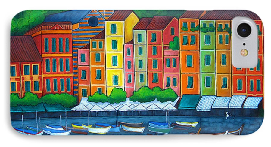 Portofino IPhone 7 Case featuring the painting Colours Of Portofino by Lisa Lorenz