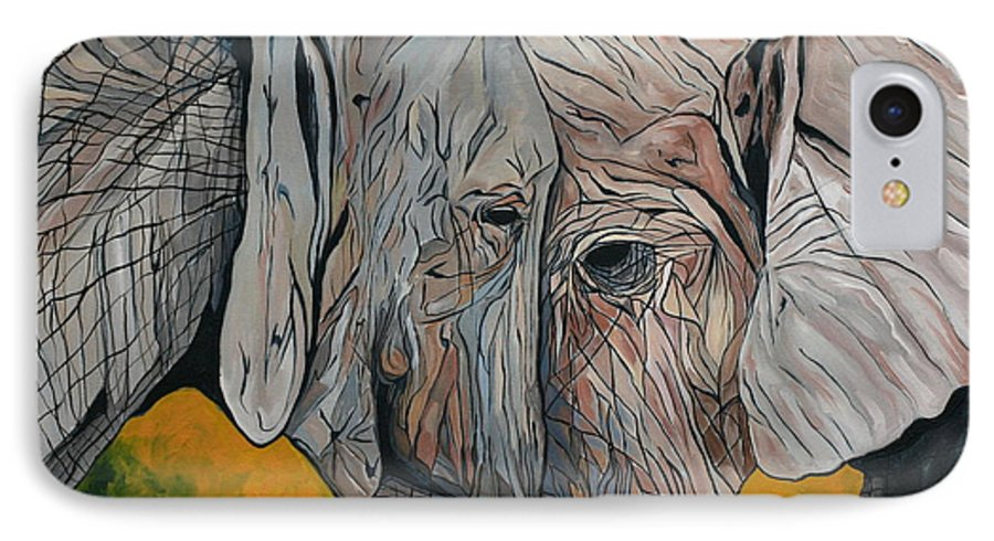 Elephant IPhone 7 Case featuring the painting Comfort by Aimee Vance
