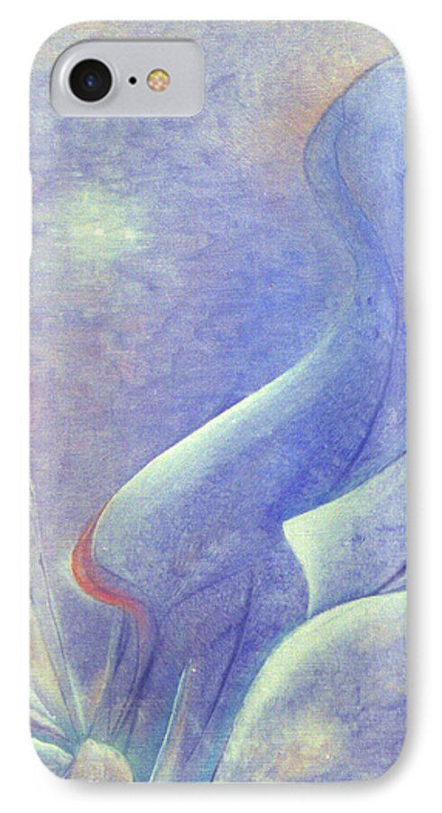 Blue IPhone 7 Case featuring the painting Comfort by Christina Rahm Galanis