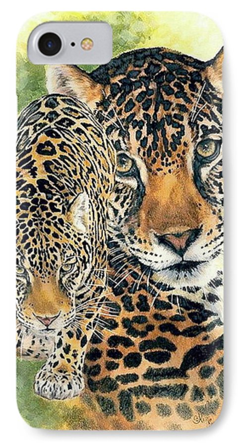 Jaguar IPhone 7 Case featuring the mixed media Compelling by Barbara Keith