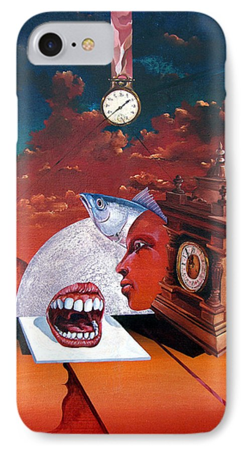 Otto+rapp Surrealism Surreal Fantasy Time Clocks Watch Consumption IPhone 7 Case featuring the painting Consumption Of Time by Otto Rapp