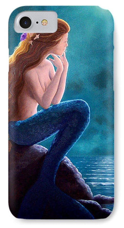 Mermaid Art IPhone 7 Case featuring the painting Contemplation by Brenda Ellis Sauro