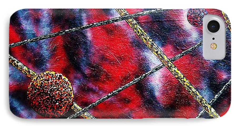 Abstract IPhone 7 Case featuring the painting Continuum Iv Red Sky by Micah Guenther