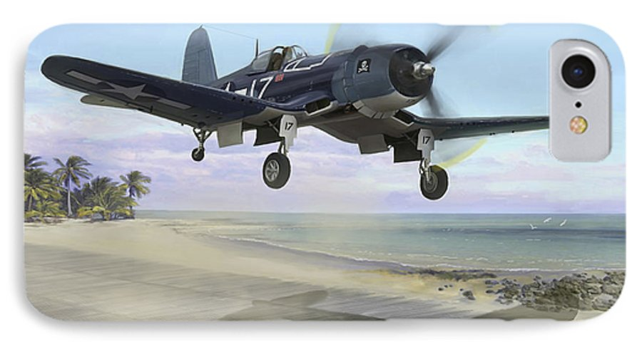 Airplane IPhone 7 Case featuring the painting Corsair Takeoff Vf-17 Jolly Rogers by Mark Karvon