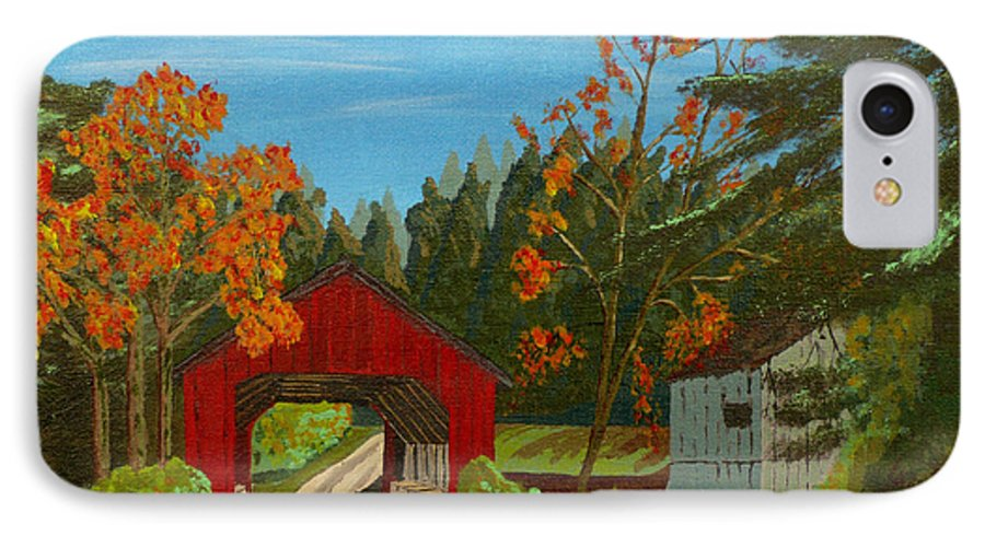 Path IPhone 7 Case featuring the painting Covered Bridge by Anthony Dunphy