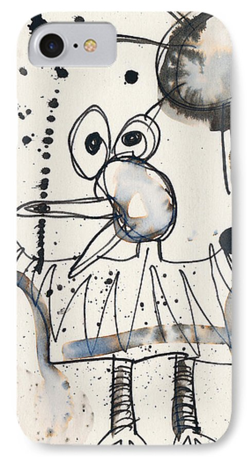 Bird IPhone 7 Case featuring the painting Crazy Bird by Christopher Winkler