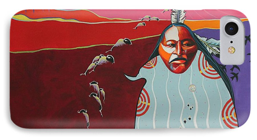 Native American IPhone 7 Case featuring the painting Creation by Joe Triano