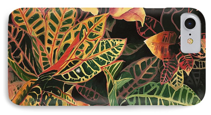 Croton Leaves IPhone 7 Case featuring the painting Croton Leaves by Judy Swerlick