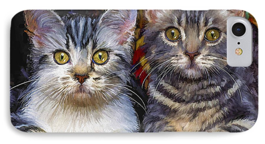 Cat IPhone 7 Case featuring the painting Curious Kitties by David Wagner