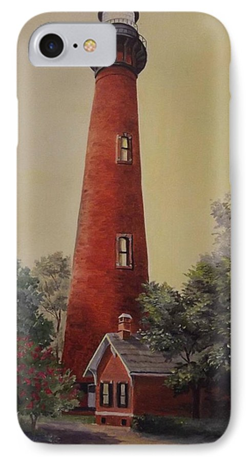 Lighthouse IPhone 7 Case featuring the painting Currituck Lighthouse by Wanda Dansereau