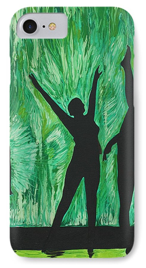 Abstract IPhone 7 Case featuring the painting Dance by Aimee Vance