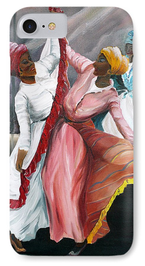 Dancers Folk Caribbean Women Painting Dance Painting Tropical Dance Painting IPhone 7 Case featuring the painting Dance The Pique 2 by Karin Dawn Kelshall- Best