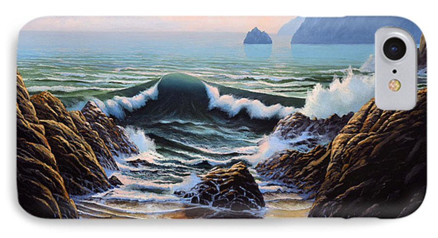 Seascape IPhone 7 Case featuring the painting Dancing Tide by Frank Wilson